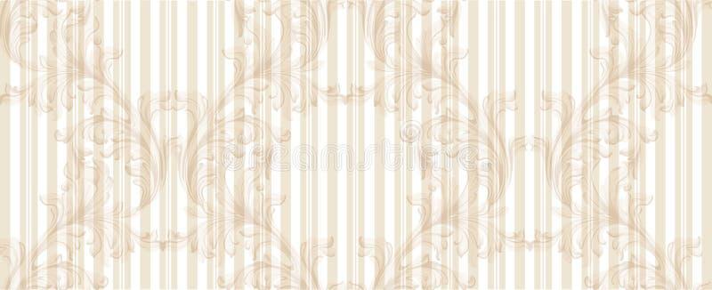 Damask χρυσό σχεδίων διανυσματικό ντεκόρ διακοσμήσεων απεικόνισης χειροποίητο Μπαρόκ στιλπνές συστάσεις υποβάθρου απεικόνιση αποθεμάτων