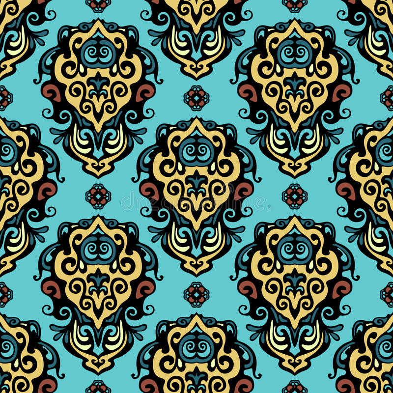 Free Damask Abstract Flower Seamless Vector Stock Image - 38124091