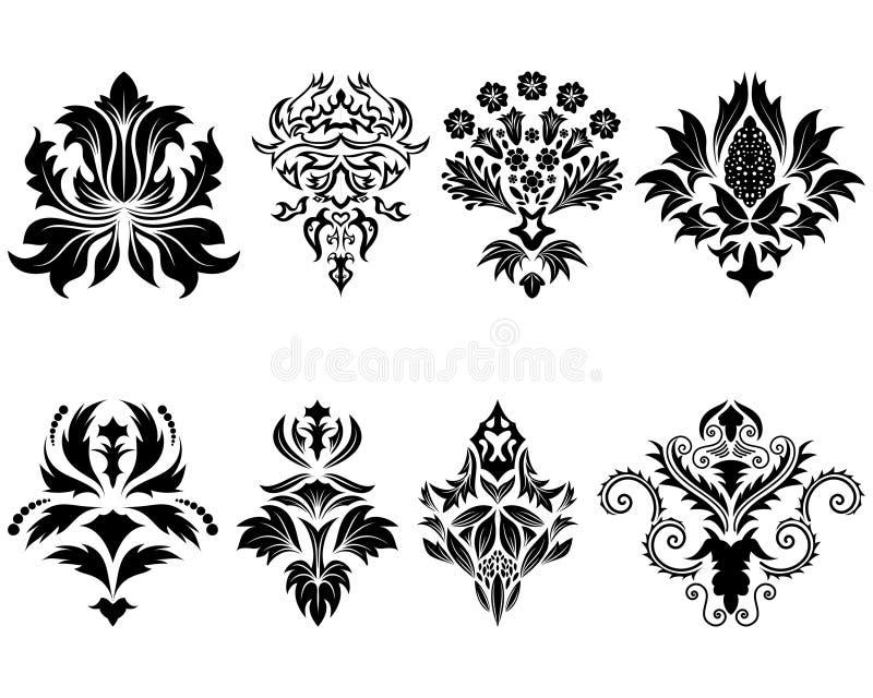 Damask emblem set vector illustration