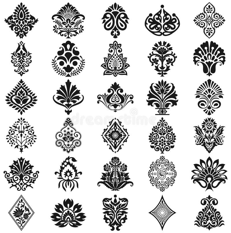 Damask floral σύνολο σχεδίων ελεύθερη απεικόνιση δικαιώματος