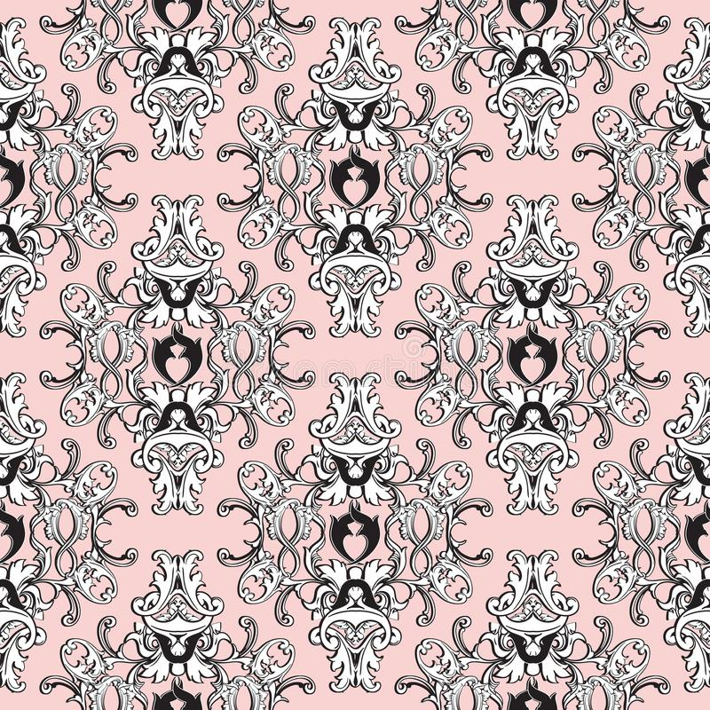 Download Damask Floral Seamless Pattern Light Pink Background Wallpaper Stock Vector