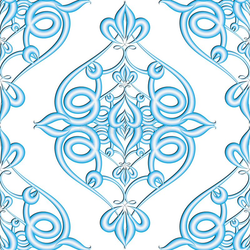 Damask floral textured 3d vector seamless pattern. Arabesque blue surface ornament on white background. Ornamental arabic style stock illustration