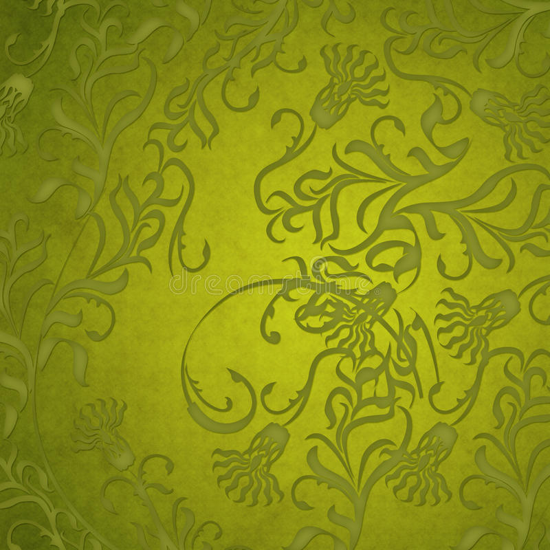 Damask green floral background stock photography