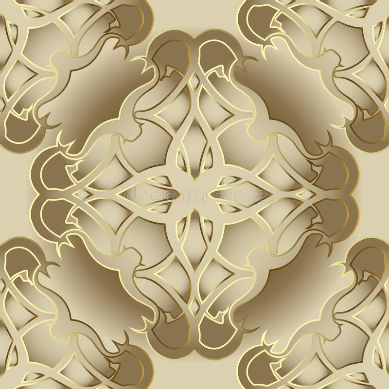 Damask ornate vector 3d seamless pattern. stock illustration