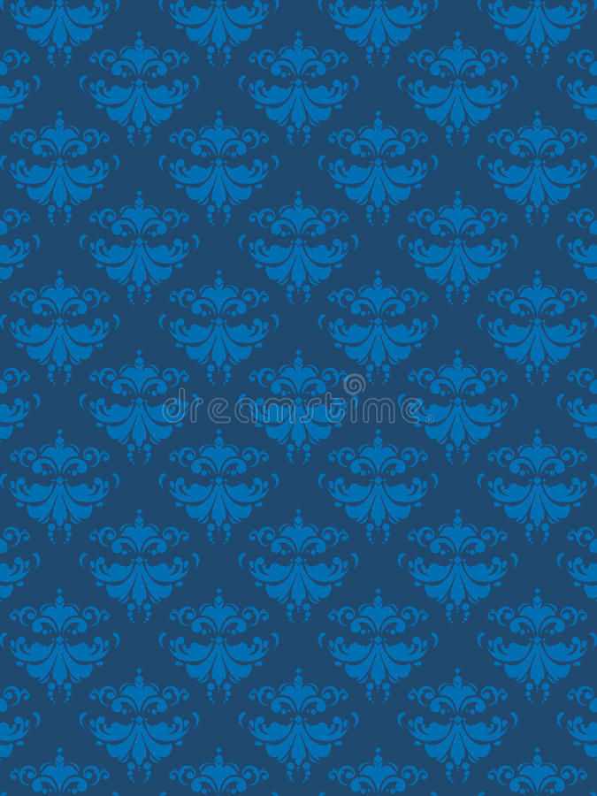 Damask Pattern Blue EPS stock illustration
