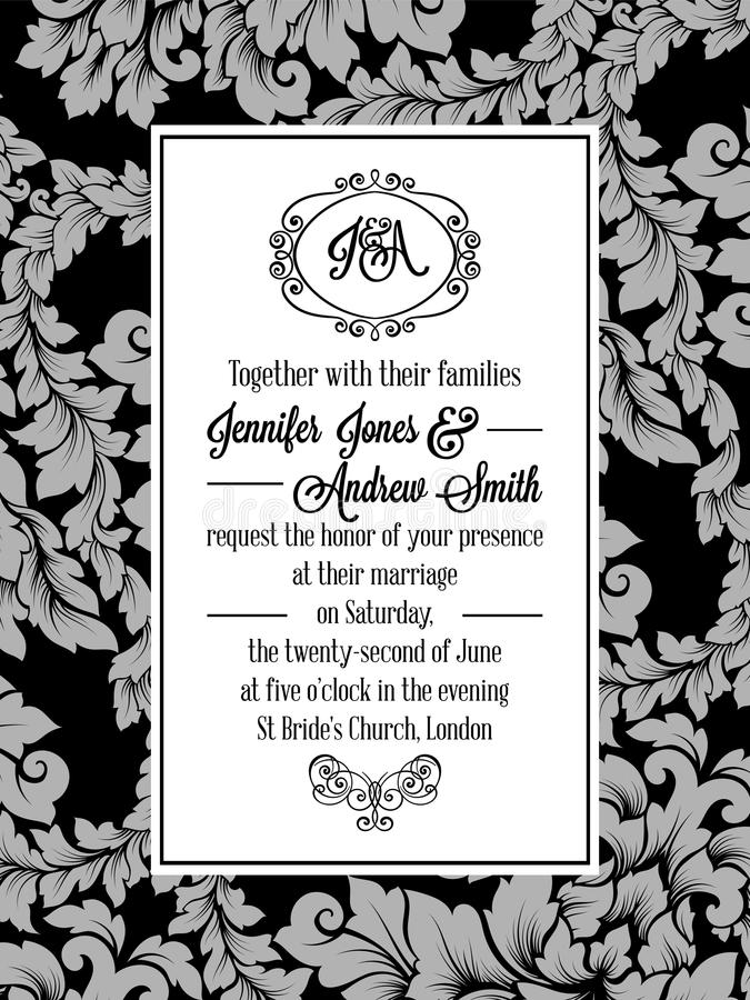 Damask pattern design for wedding invitation in black and white. Brocade royal frame and exquisite monogram.  stock illustration