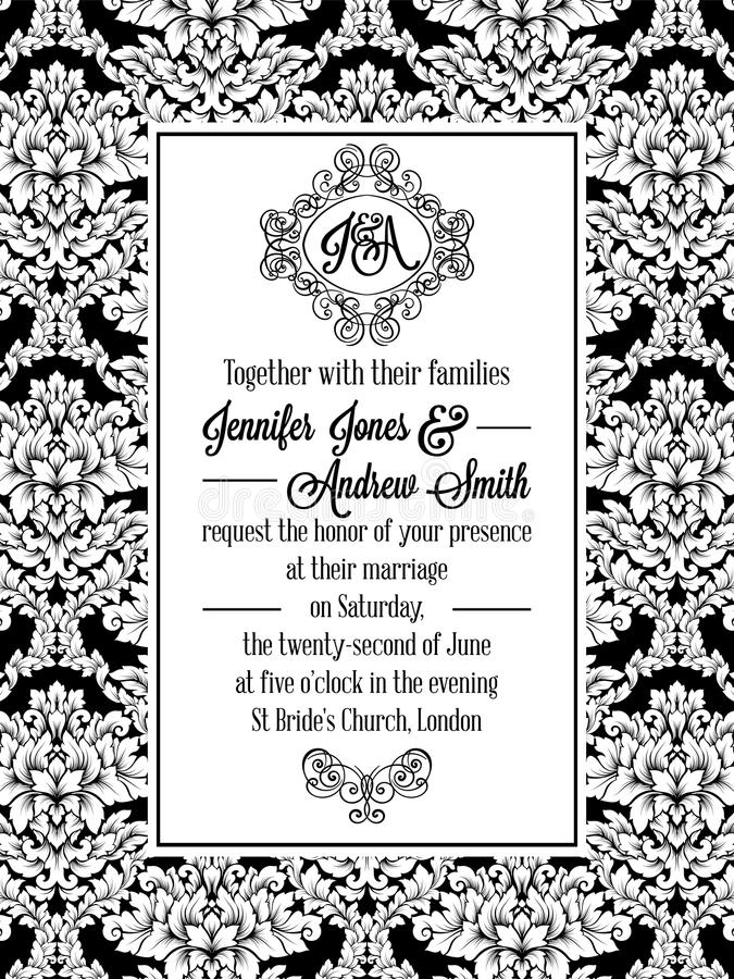 Damask pattern design for wedding invitation in black and white. Brocade royal frame and exquisite monogram.  royalty free illustration