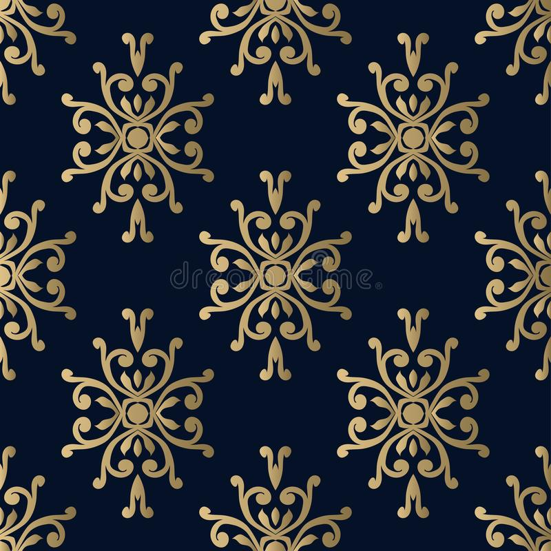 Damask pattern vector seamless on a dark blue background royalty free illustration