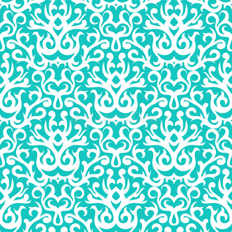Damask Pattern In White On Turquoise Stock Image