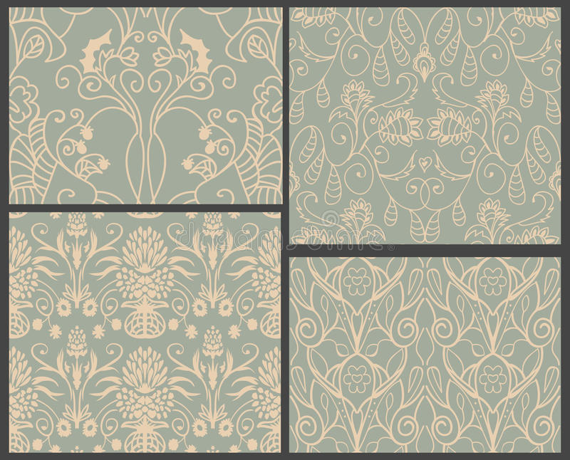 Download 4 damask patterns stock vector. Image of damask, floral - 32285430