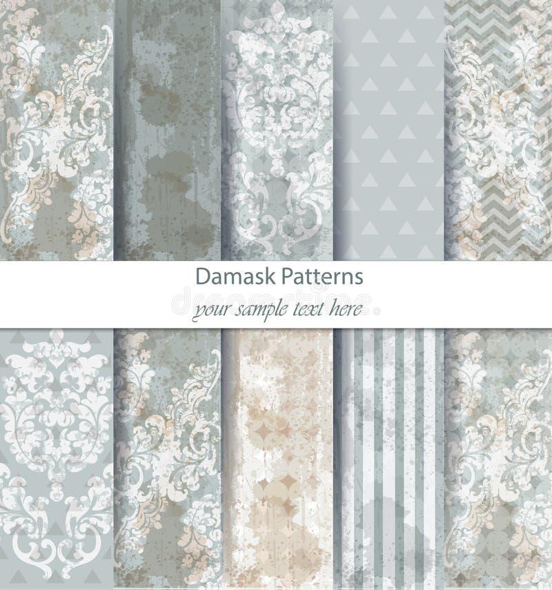Damask patterns set collection Vector. Baroque ornament grunge background. Vintage decor. Trendy color fabric textures. Damask patterns set collection Vector royalty free illustration
