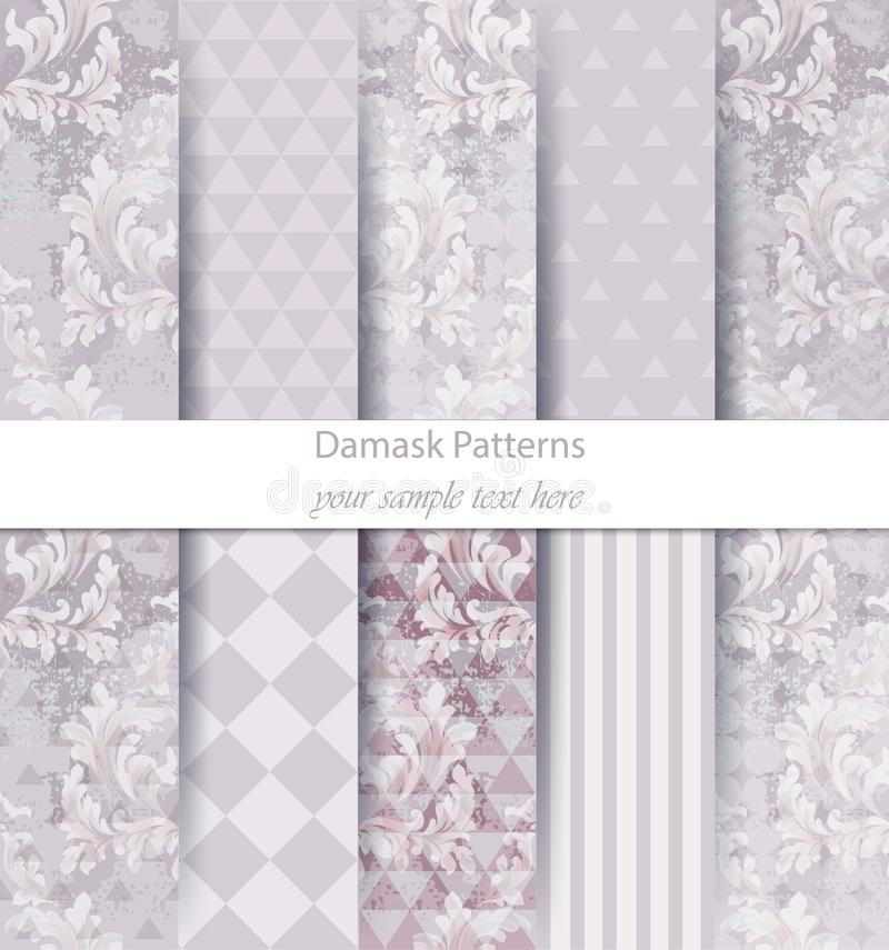 Damask patterns set collection Vector. Classic ornament various colors with abstract background textures. Vintage decor. Trendy co vector illustration