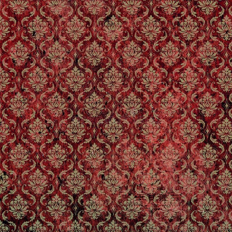 damask print red tan бесплатная иллюстрация
