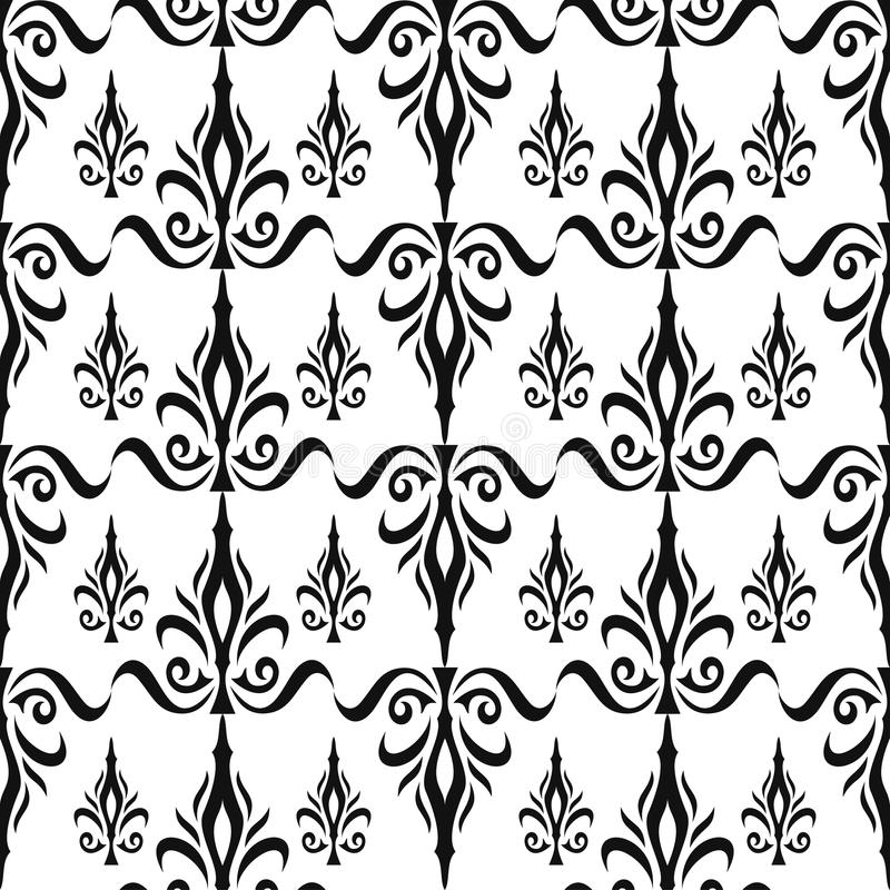 Damask seamless floral pattern. Royal wallpaper. Flowers and crowns in black on white background royalty free illustration