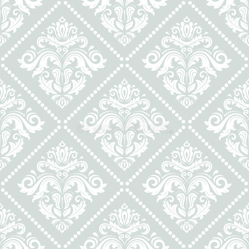 Damask Seamless Pattern. Damask seamless blue and white ornament. Fine traditional oriental pattern vector illustration
