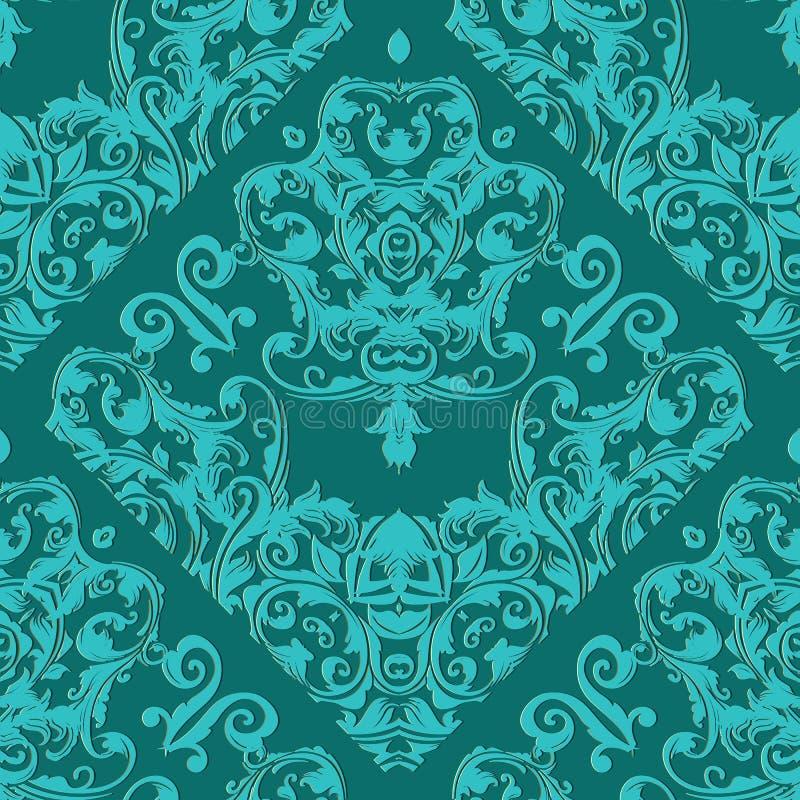 Damask Seamless Pattern Light Turquoise Floral Ornate