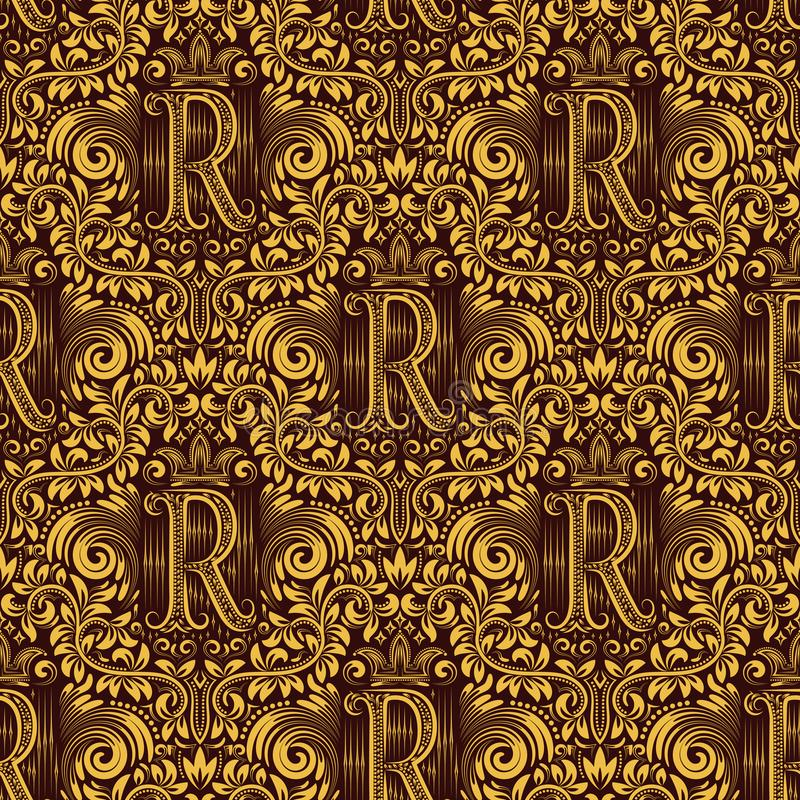 Damask seamless pattern repeating background. Gold maroon floral ornament with R letter and crown in baroque style stock illustration