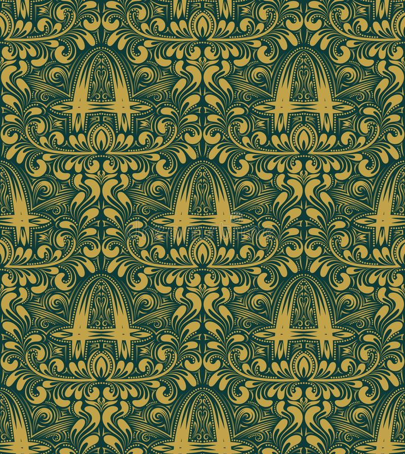 Damask seamless pattern repeating background. Gold turquoise floral ornament with A letter in baroque style vector illustration