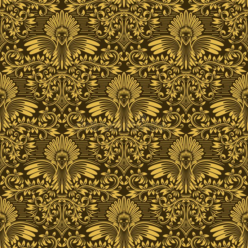 Damask seamless pattern repeating background. Golden olive floral ornament in baroque style royalty free illustration
