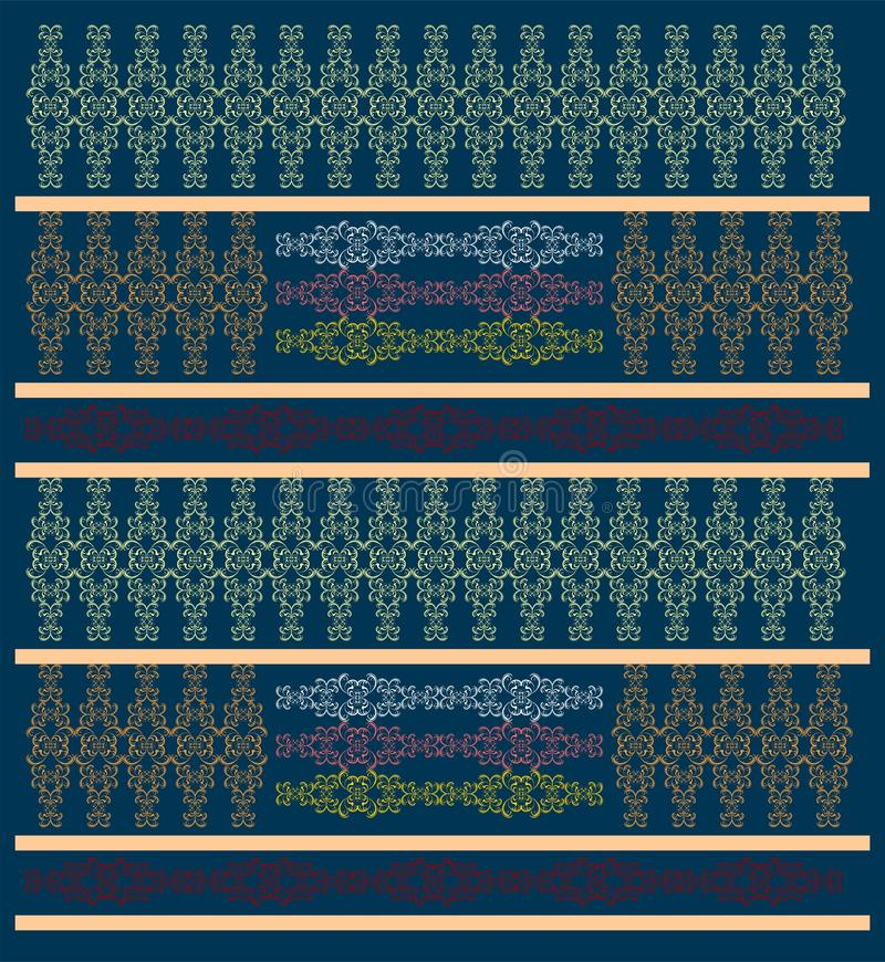 Damask swirling pattern in dark blue. Different geometries in symmetry on a dark blue background in repeat. Abstract textile for different uses stock illustration