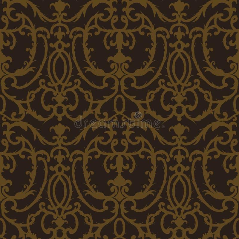 Damask thistle floral seamless pattern vector illustration