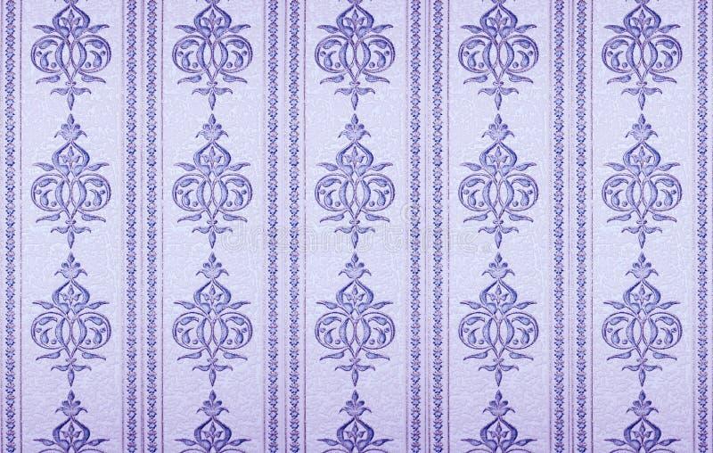 Damask wallpaper. Vintage flourish purple wallpaper texture stock photo
