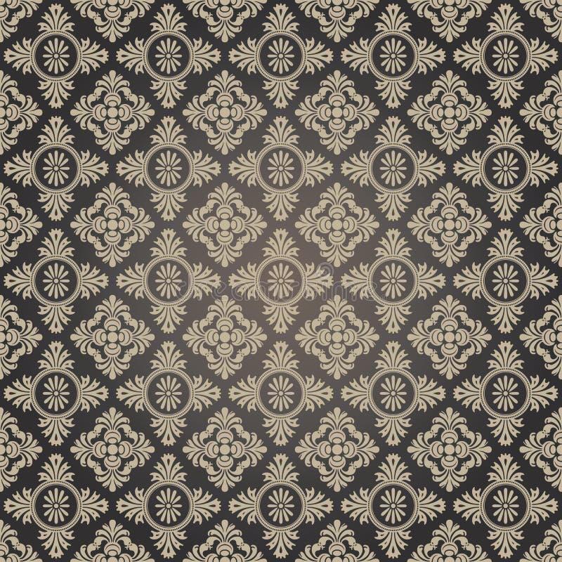 Damask wallpaper. Black and tan damask wallpaper seamless pattern