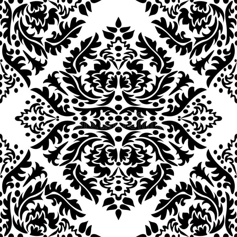 Damask wallpaper. A seamless vector background. Black and white texture. Floral ornament vector illustration