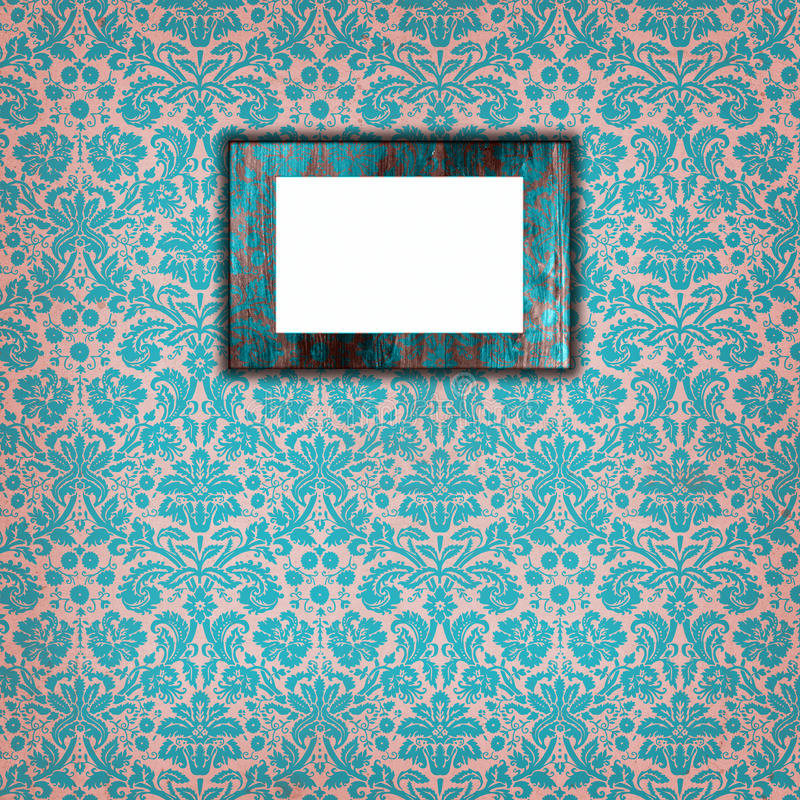 Wallpaper with wooden frame 2 royalty free stock image
