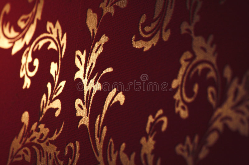 Damask wallpapers. Wall covered by vintage damask pattern royalty free stock image
