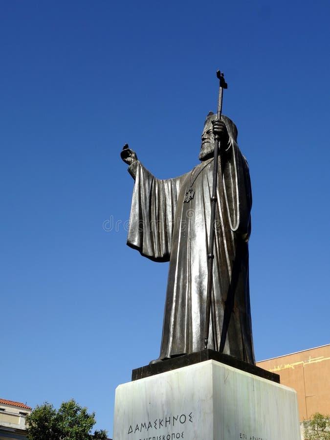 Damaskinos,雅典,希腊大主教古铜色雕象  免版税库存图片