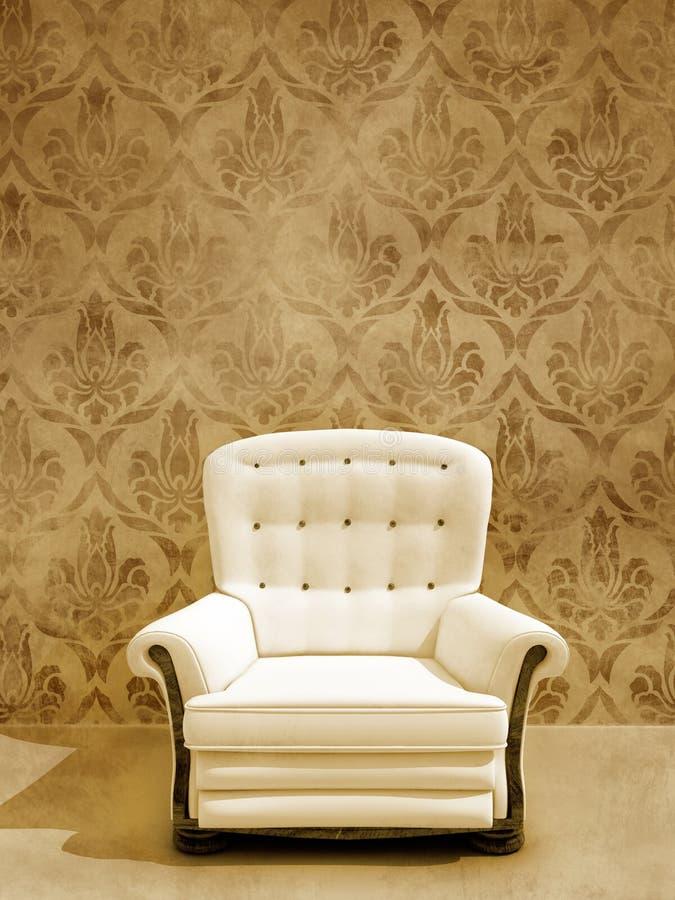 damasque siedzenia ściany biel fotografia royalty free