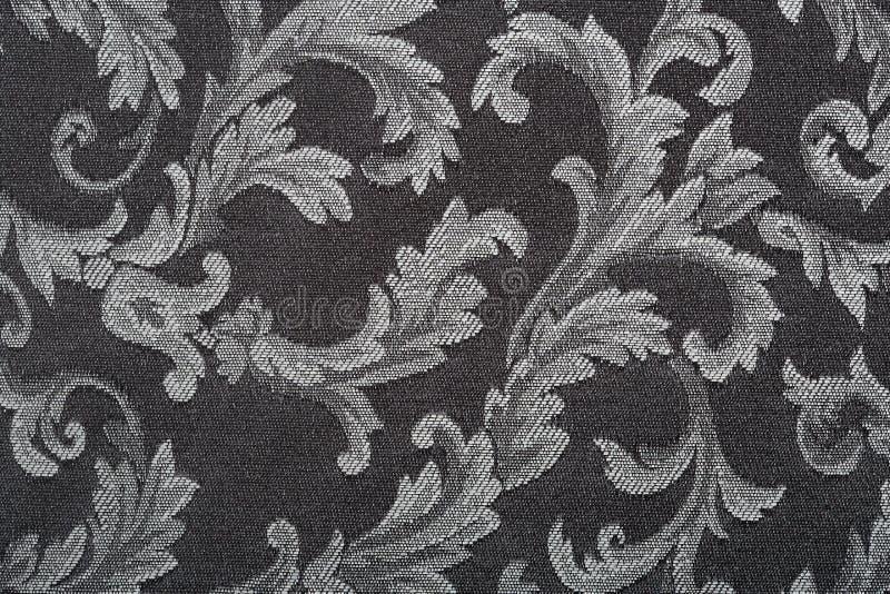 Damassé, fond noir de texture de tissu photographie stock