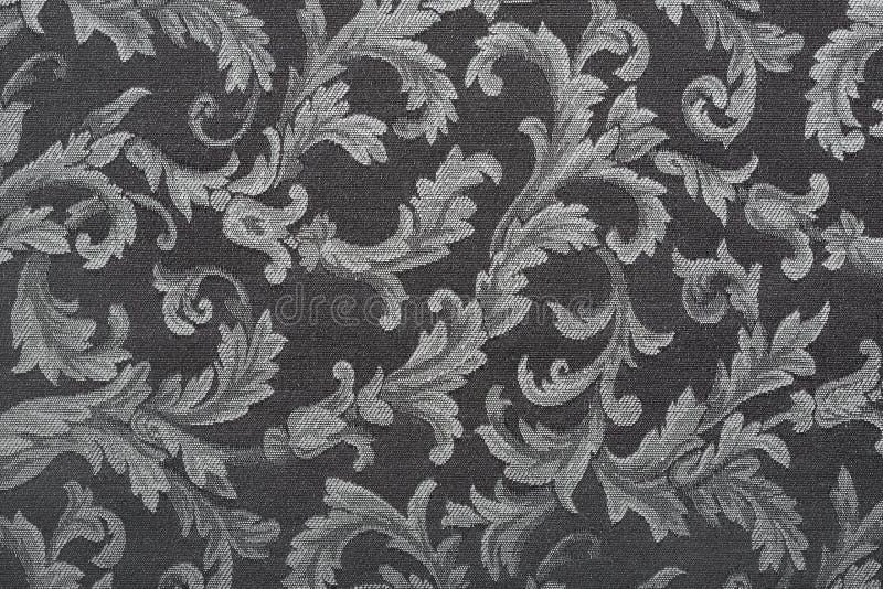 Damassé, fond noir de texture de tissu images libres de droits