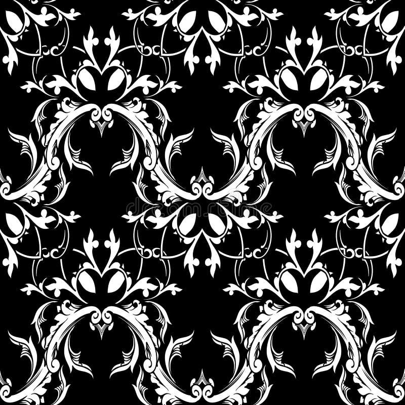 Damast barok bloemen naadloos patroon Zwarte witte achtergrond w stock illustratie