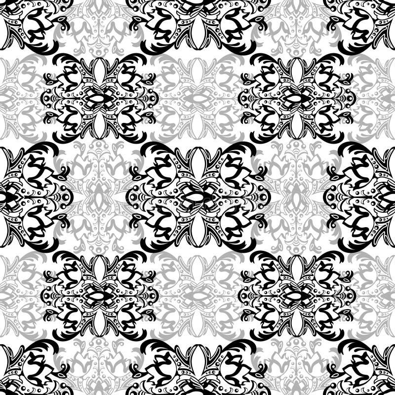 Damast bloemen naadloos patroon met arabesque, oosters ornament Abstract traditioneel decor voor achtergronden, behang, stof DE stock illustratie