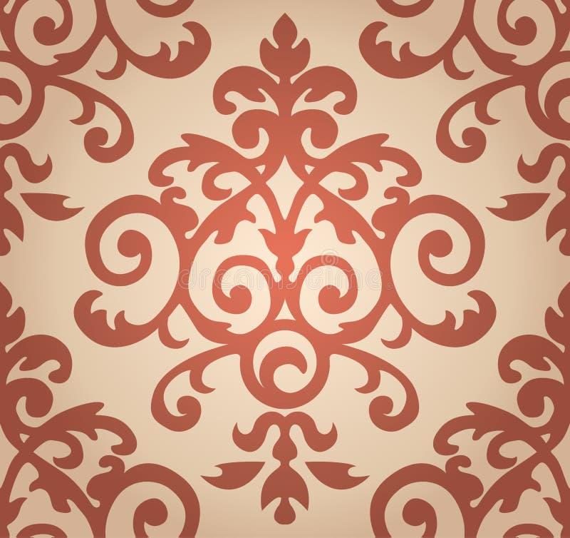 Damast bloemenpatroon Het behang in Barok stock illustratie