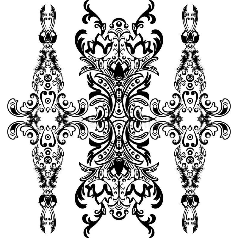 Damast blom- modell med arabesquen, orientalisk prydnad Abstrakt traditionell dekor för bakgrunder Svartvita färger, monoc royaltyfri illustrationer