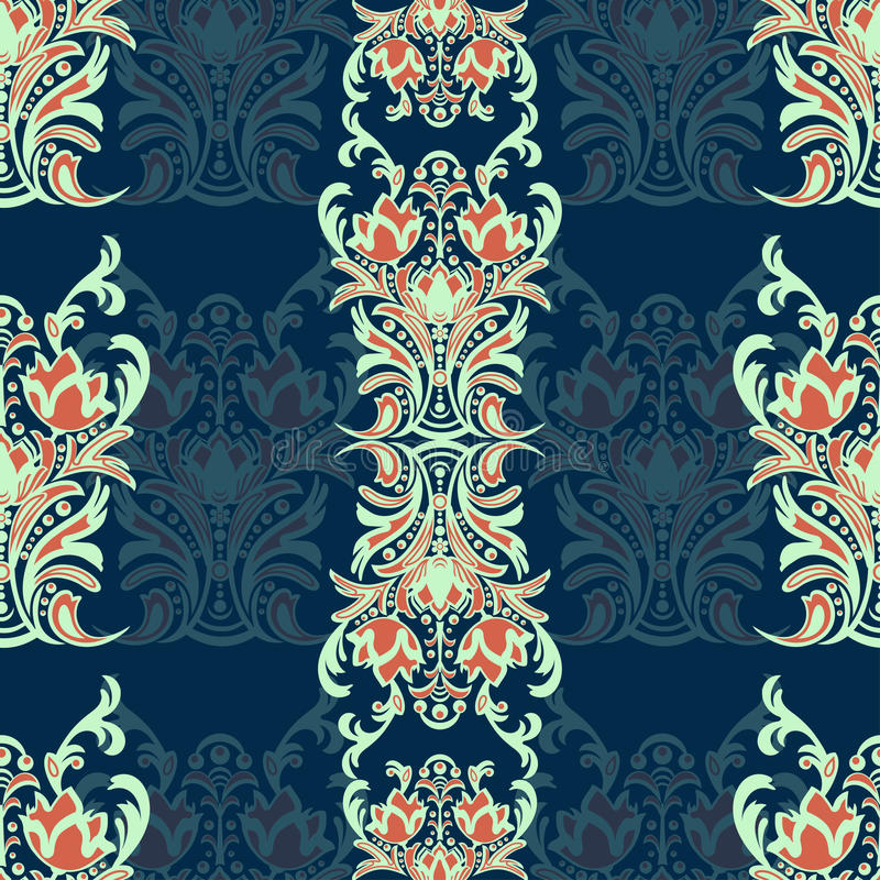 Damast blom- sömlös modell med arabesquen, flerfärgad orientalisk prydnad Abstrakt traditionell dekor för bakgrunder naturligt M royaltyfri illustrationer