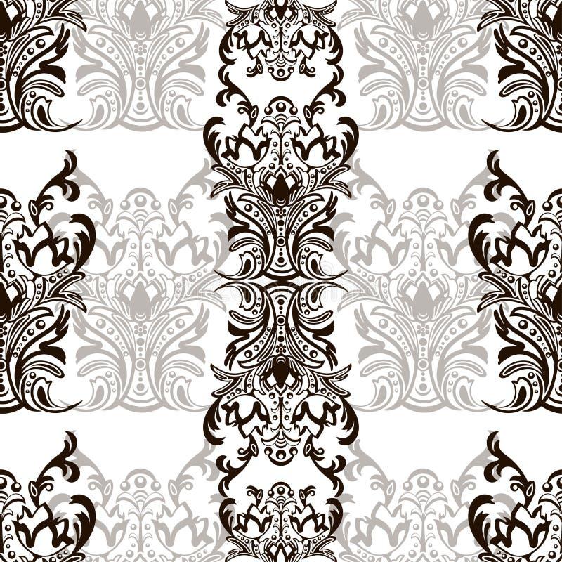Damast blom- sömlös modell med arabesquen, orientalisk prydnad Abstrakt traditionell dekor för bakgrunder, tapet, tyg de stock illustrationer