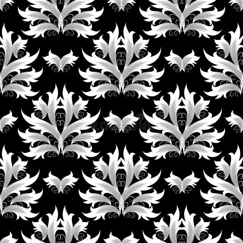 Damast blommar den sömlösa modellen all bakgrundsbarock curves vektorn för illustrationen separat Blom- wallp royaltyfri illustrationer