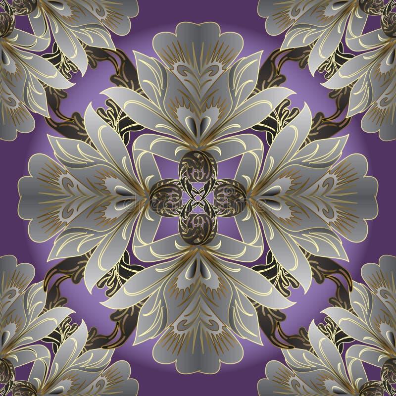 Damast-Blumenvektor-nahtloses Muster Flourish Ornamental vinta vektor abbildung