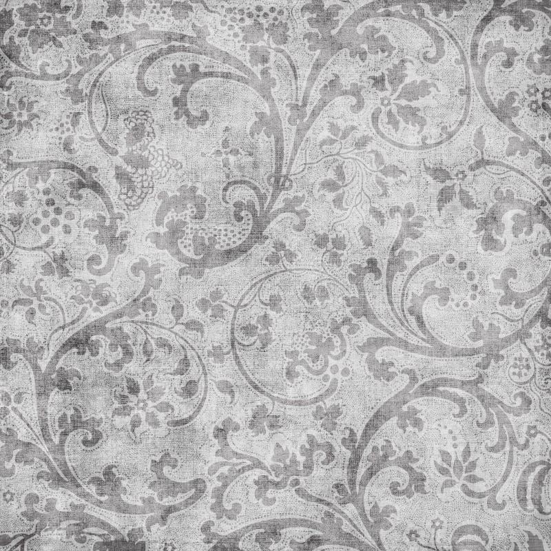 DAMAST-Einklebebuchhintergrund der Grungy Weinlese Blumen lizenzfreie abbildung