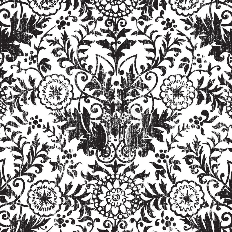 DAMAST-Einklebebuchhintergrund der Grungy Weinlese Blumen stock abbildung