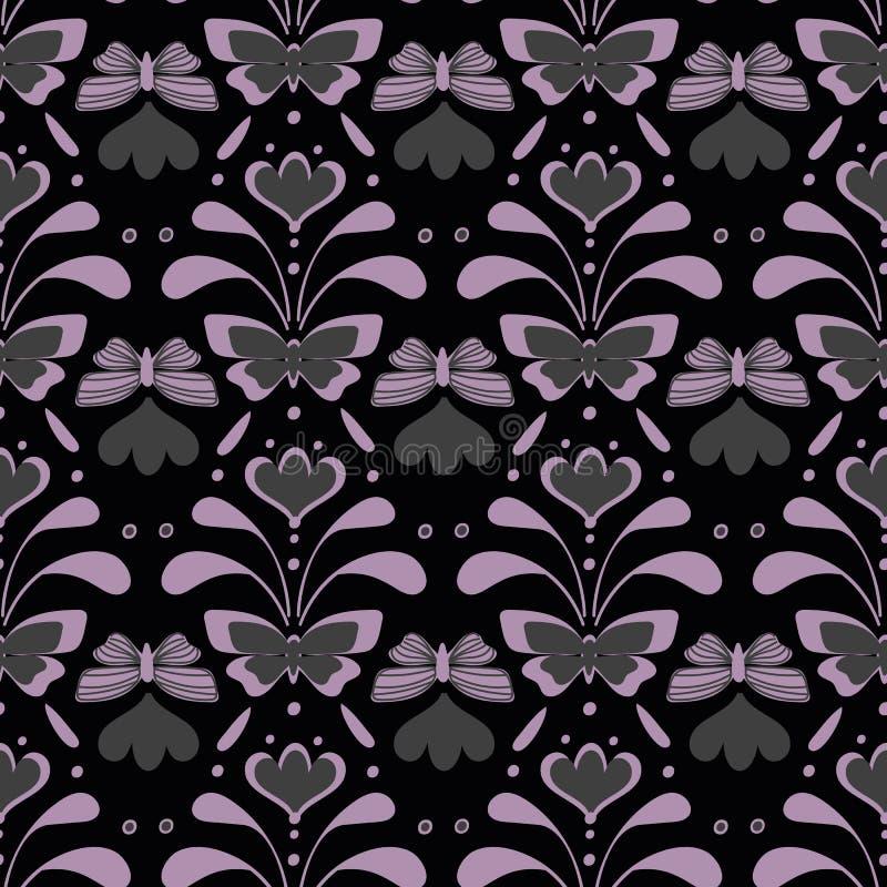 Damast lynnig vektormodell för sömlös vintege med fjärilar och blom- royaltyfri illustrationer