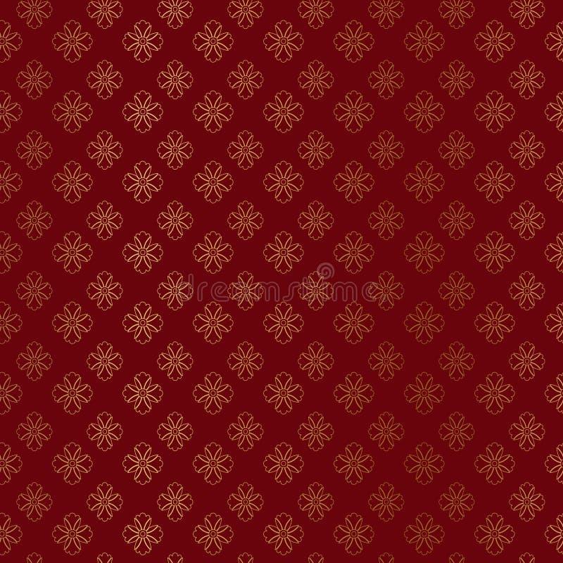 Damast modell för guld- prydnad på burgundy bakgrund Guld- geometrisk modell för stjärnor Guld- prydnadbakgrund royaltyfri illustrationer