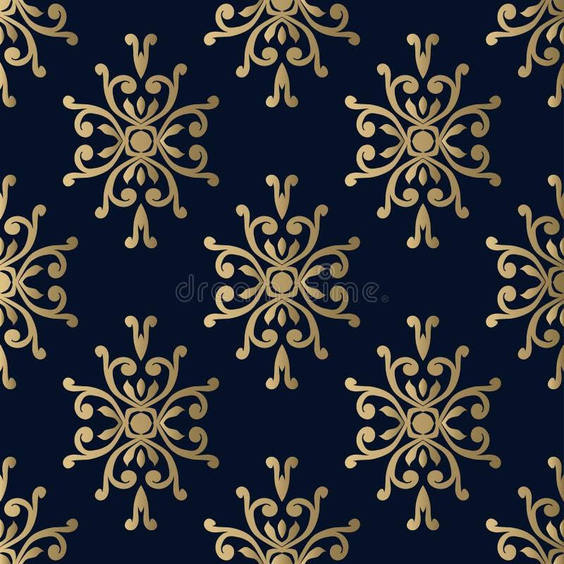 Damast modellvektor som är sömlös på ett mörker - blå bakgrund royaltyfri illustrationer