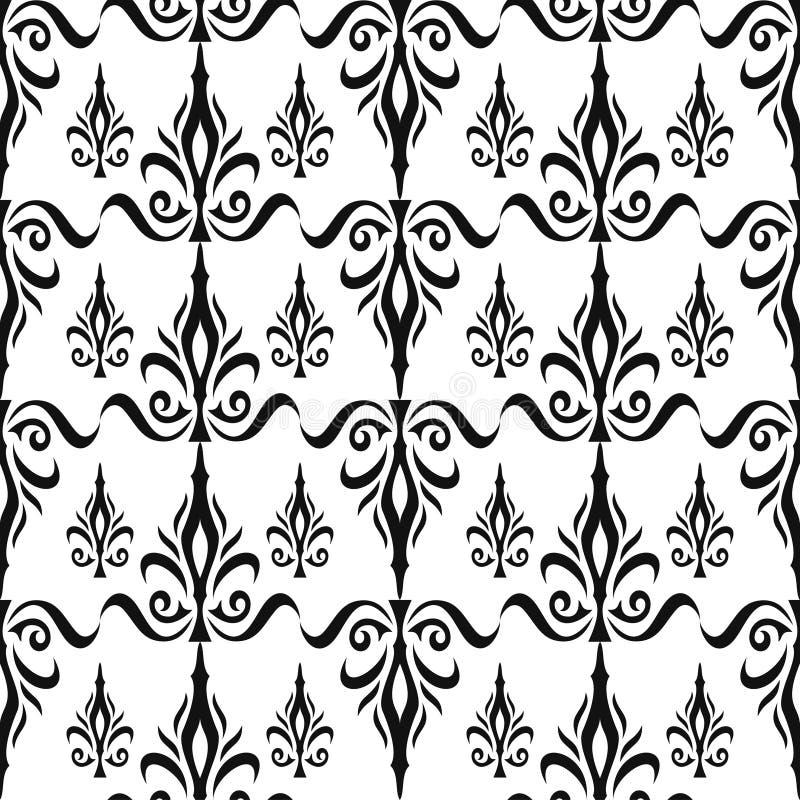Damast naadloos bloemenpatroon. Koninklijk behang. Bloemen en kronen in zwarte op witte achtergrond royalty-vrije illustratie