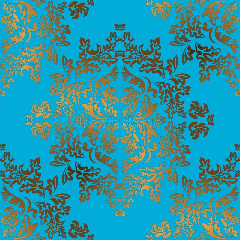 Damast naadloos gouden ornament Traditioneel vectorpatroon Klassieke oosterse achtergrond royalty-vrije illustratie