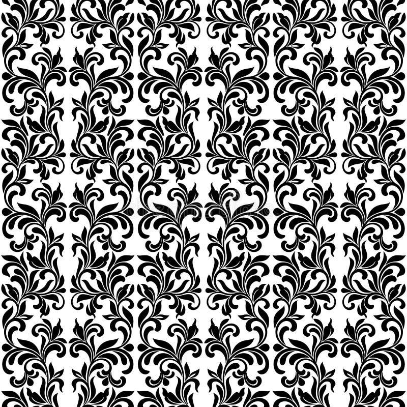 Damast Naadloos Vectorpatroon in Zwart-witte kleuren Elegan royalty-vrije illustratie